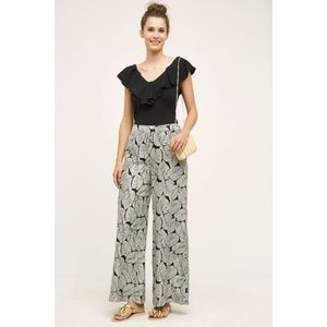 Anthropologie Elevenses Native Palm Wide Leg Pant